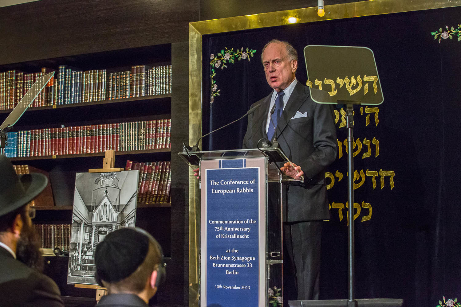 Click photo to download. Caption: World Jewish Congress President Ronald S. Lauder addresses the Conference of European Rabbis commemoration of the 75th Anniversary of Kristallnacht in Berlin on Nov. 10. Credit: World Jewish Congress.