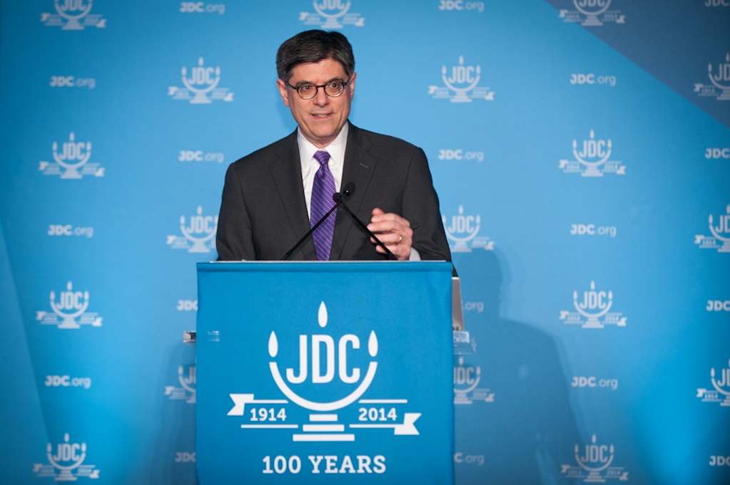 Click photo to download. Caption: Treasury Secretary Jacob Lew speaks at the JDC centennial dinner on Dec. 11 in Washington, DC. Credit: Richard Greenhouse for JDC.