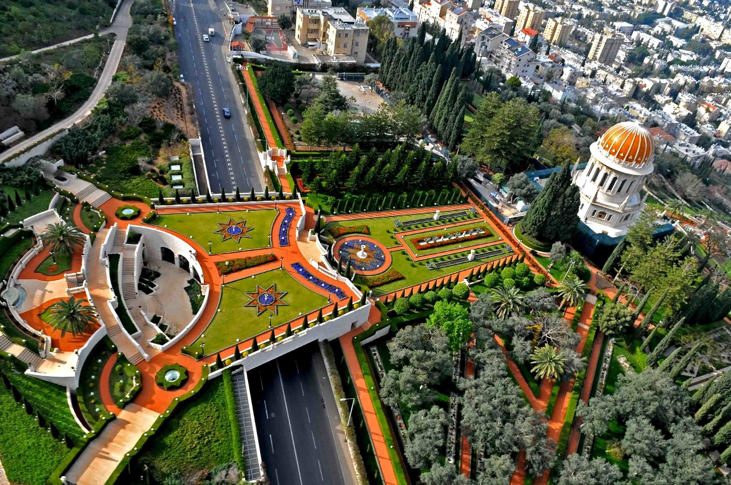 Click photo to download. Caption: The Bahai Gardens in Haifa. Credit: Zvi Roger via Wikimedia Commons.