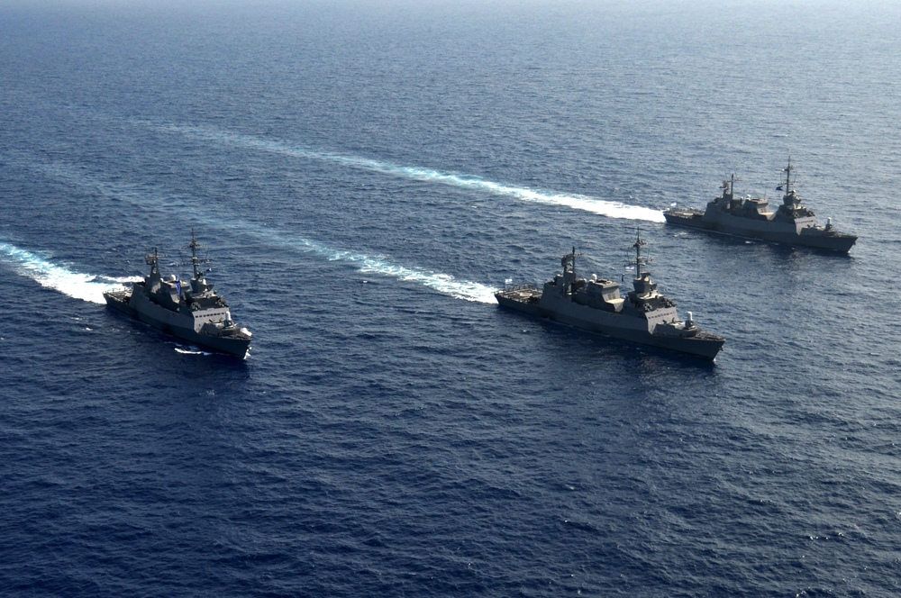 Israeli Navy vessels off the shore of Israel during a training exercise. Credit: Israel Defense Forces.