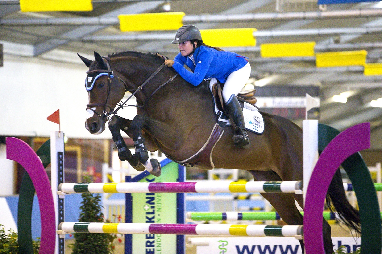 Click photo to download. Caption: Danielle Goldstein, a founding member of the Israeli Equestrian Team, in an equestrian competition. Credit: Provided photo.