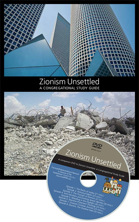"Click photo to download. Caption: The cover of the ""Zionism Unsettled"" study guide and its companion DVD. Credit: Israel Palestine Mission Network."