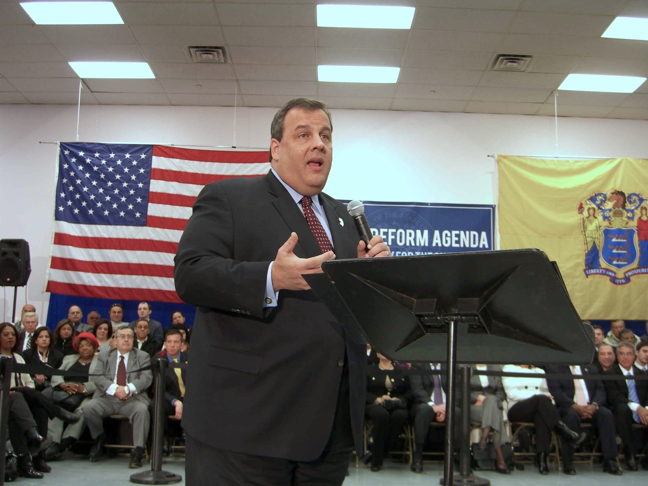 Click photo to download. Caption: New Jersey Governor Chris Christiespeaks at a town hall meeting in Union City, New Jersey,on February 9, 2011. Credit:Luigi Novi via Wikimedia Commons.