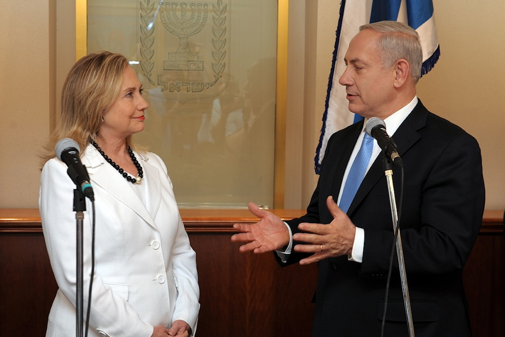 Click photo to download. Caption:Hillary Rodham Clinton, then the U.S. Secretary of State,meets with Israeli Prime Minister Benjamin Netanyahu in Jerusalem in July 2012. Credit: U.S. Embassy Tel Aviv.