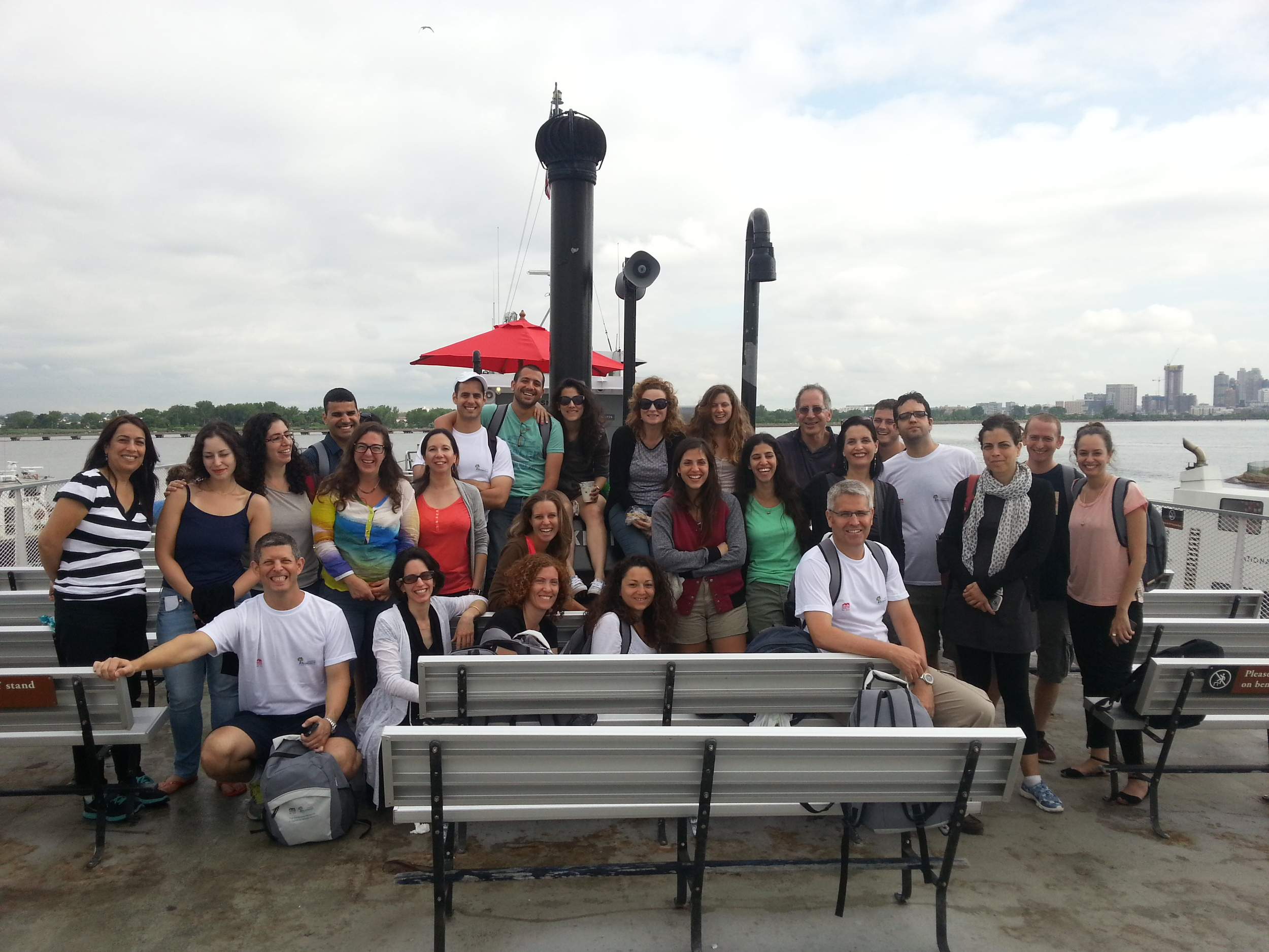 Click photo to download. Caption: Students of the University of Haifa'sRuderman Program for American Jewish Studies visit Ellis Island last month as part of their 10-day U.S. trip. Credit: Courtesy of Gur Alroey.