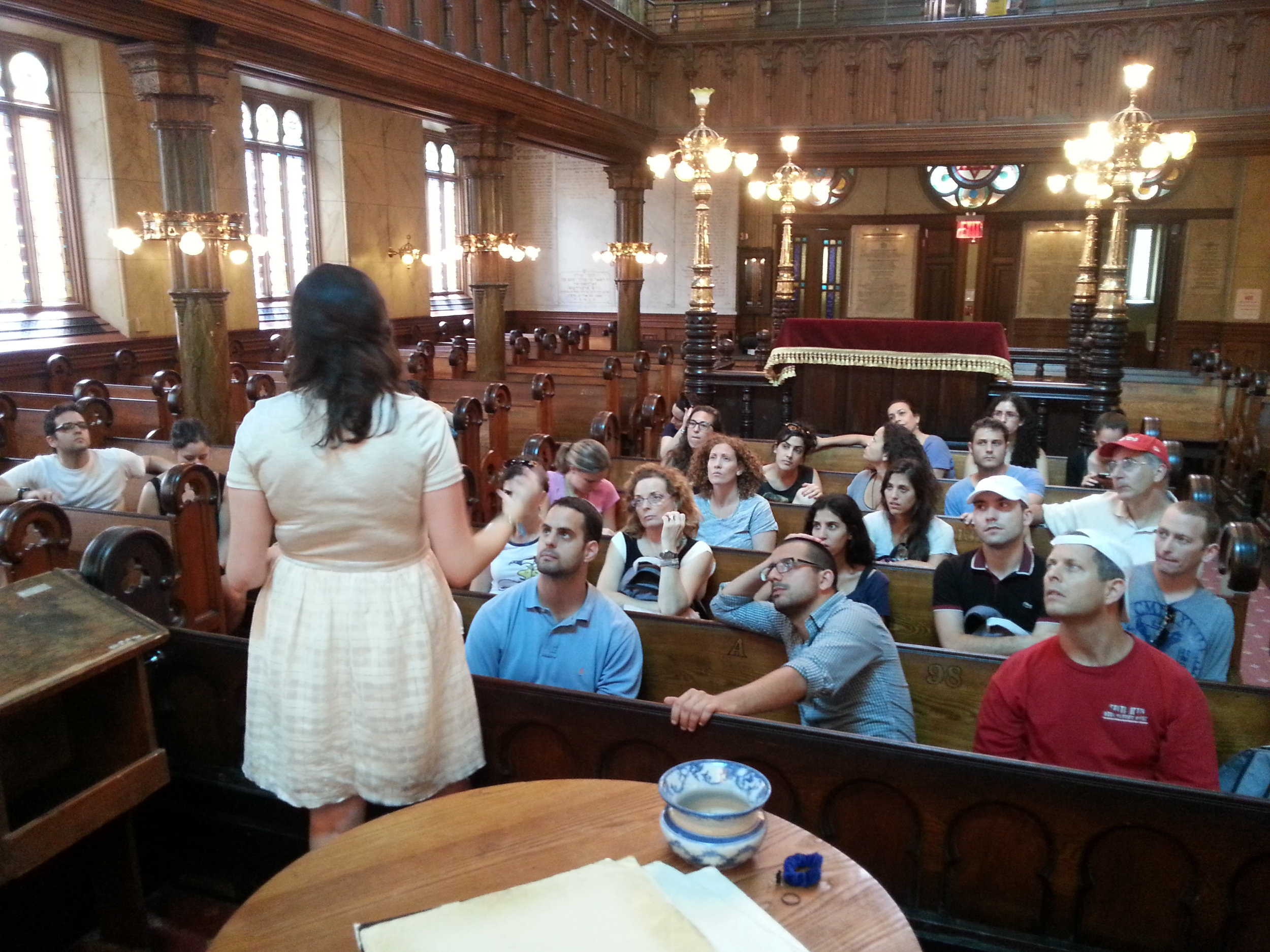 Click photo to download. Caption: Students of the University of Haifa'sRuderman Program for American Jewish Studies visit the Eldridge Street Synagogue on Manhattan's Lower East Sidelast month as part of their 10-day U.S. trip. Credit: Courtesy of Gur Alroey.
