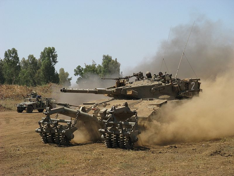 IDF tanks. Eighty percent of Israeli respondents in a new poll said they support the ground incursion into Gaza. Credit: Wikimedia Commons.
