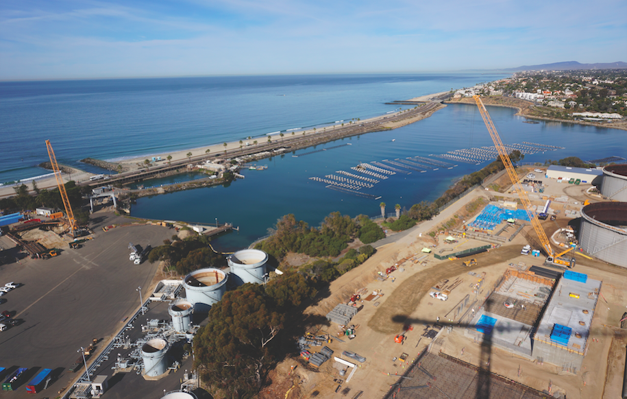 Click photo to download. Caption: An aerial view of the desalination plant in Carlsbad, Calif., which will become operational in November 2015. Credit: IDE Technologies.