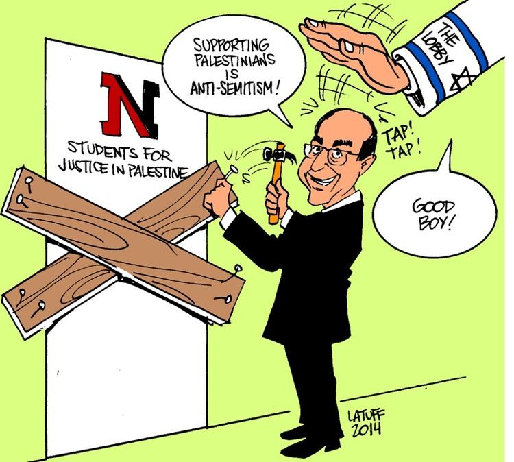 "Click photo to download. Caption: A cartoon posted on the Facebook page of Northeastern University's Students for Justice in Palestine chapter—which was suspended earlier this year before being reinstated—depicts University President Joseph Aoun nailing boards on the door of the student group. Mirroring the conspiracy theory that Israel controls American foreign policy, the cartoon features a disembodied arm from the sky—with a Star of David and ""The Lobby"" written on its sleeve—patting Aoun on the head. Credit: Northeastern SJP Facebook page."