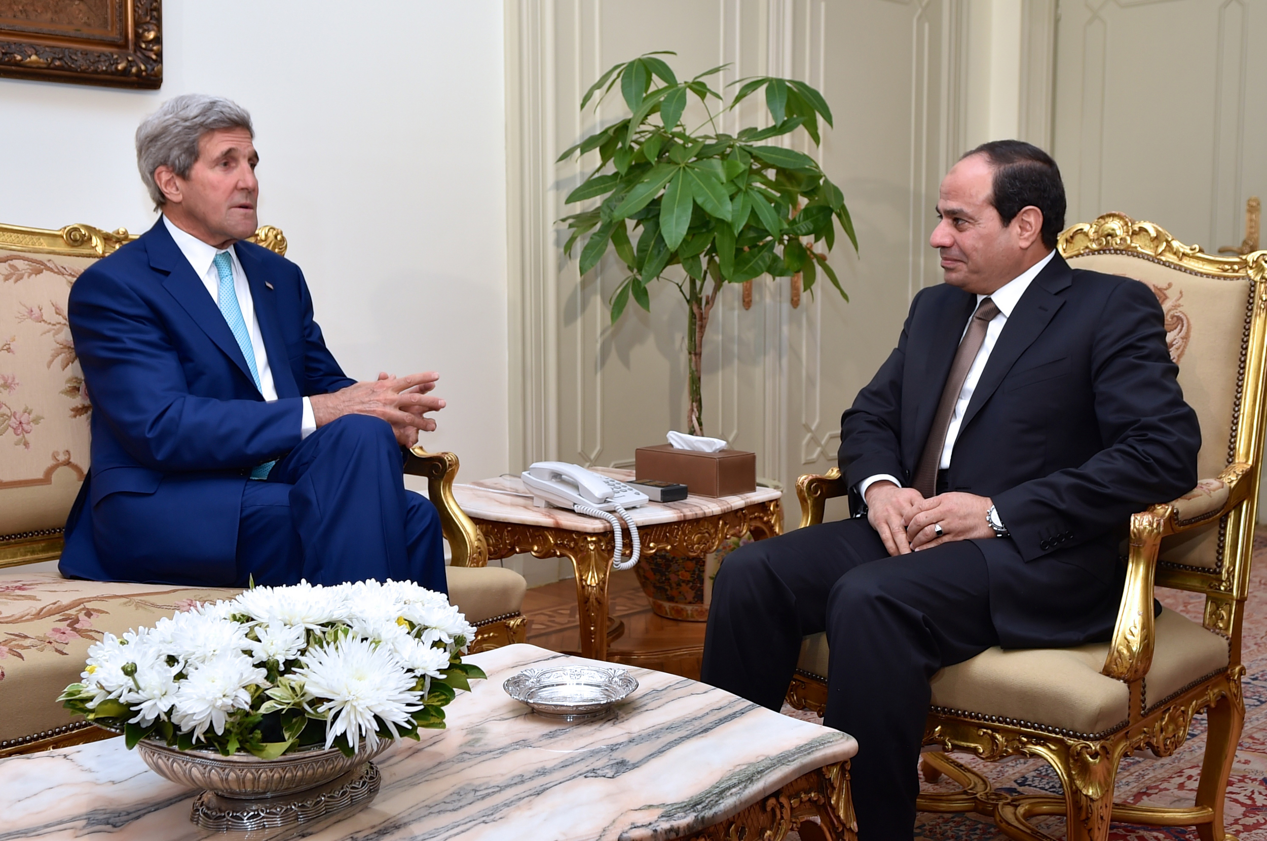 Click photo to download. Caption: U.S. Secretary of State John Kerry meets with Egyptian President Abdel Fattah El-Sisi at the Presidential Palace in Cairo on July 22, 2014, to discuss a possible cease-fire deal for the conflict between Israel and Hamas. Relations between the U.S. and Egypt, longtime allies, have been strained since America supported the ouster of Egyptian president Hosni Mubarak in 2011. Credit: U.S. Department of State.