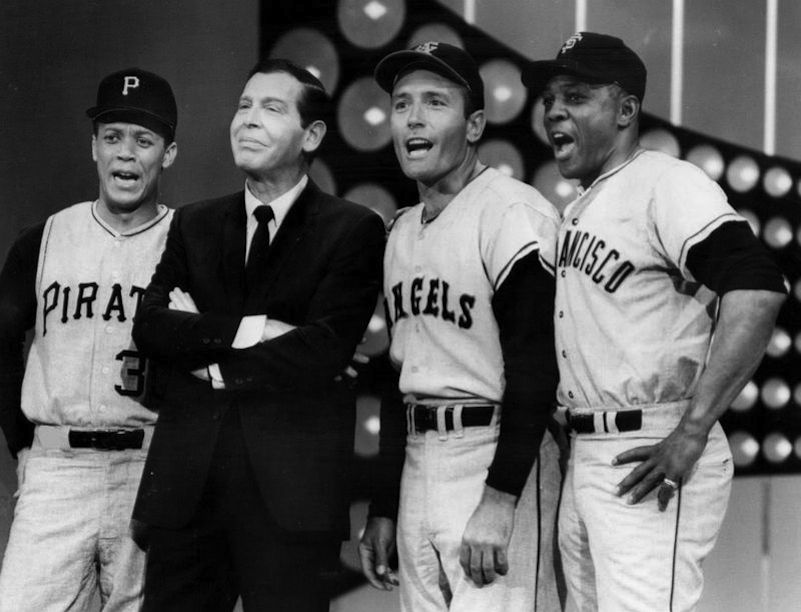 """Click photo to download. Caption: Maury Wills, Milton Berle, Jimmy Piersall, and Willie Mays in a salute to baseball on the television program """"The Hollywood Palace"""" in 1967. Credit: ABC Television via Wikimedia Commons."""