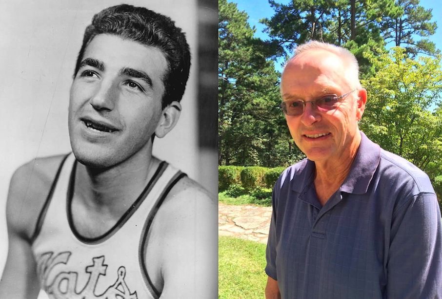 Click photo to download. Caption: NBA Hall-of-Famer Dolph Schayes (left) and his biographer of the same first name, Dolph Grundman. Credit: The Sporting News Archives and courtesy of Dolph Grundman.