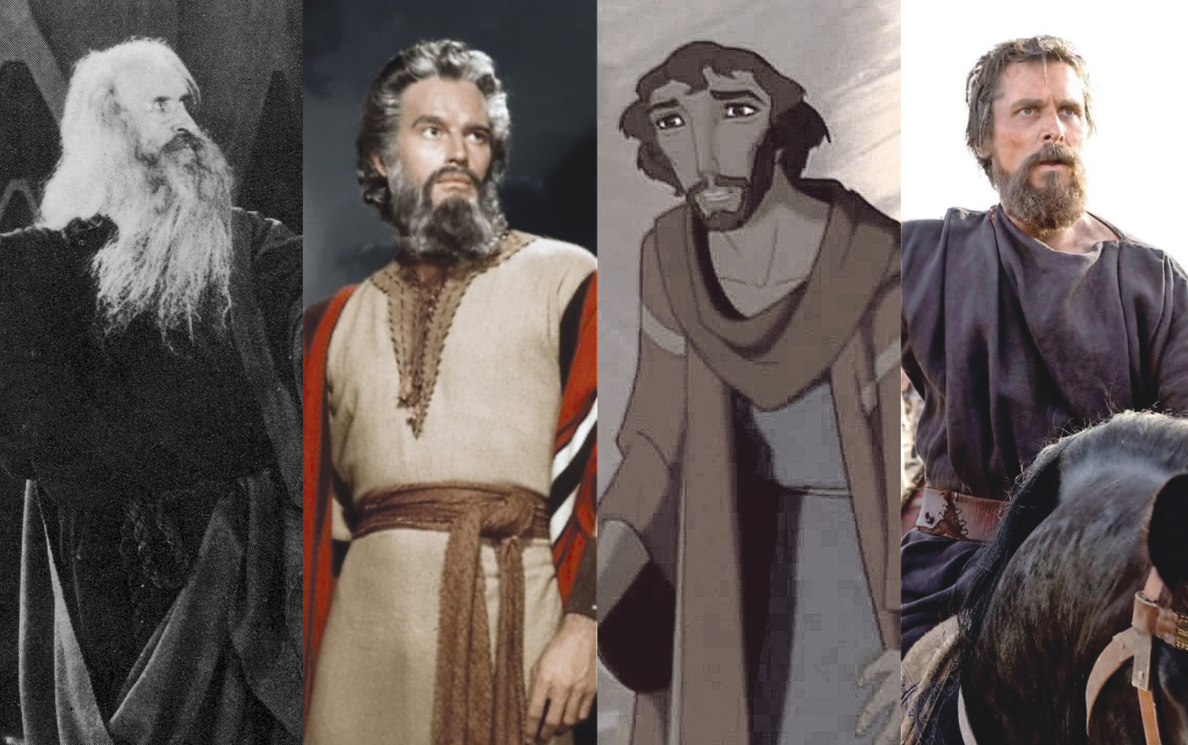 """Click photo to download. Caption: From left to right, Theodore Roberts in """"The Ten Commandments"""" (1923), Charlton Heston in """"The Ten Commandments"""" (1956), Moses voiced by Val Kilmer in """"The Prince of Egypt"""" (1998), and Christian Bale in """"Exodus: Gods and Kings"""" (2014). Credits (left to right): Paramount, Paramount, DreamWorks, 20th Century Fox. Photo illustration by Marshall Weiss."""