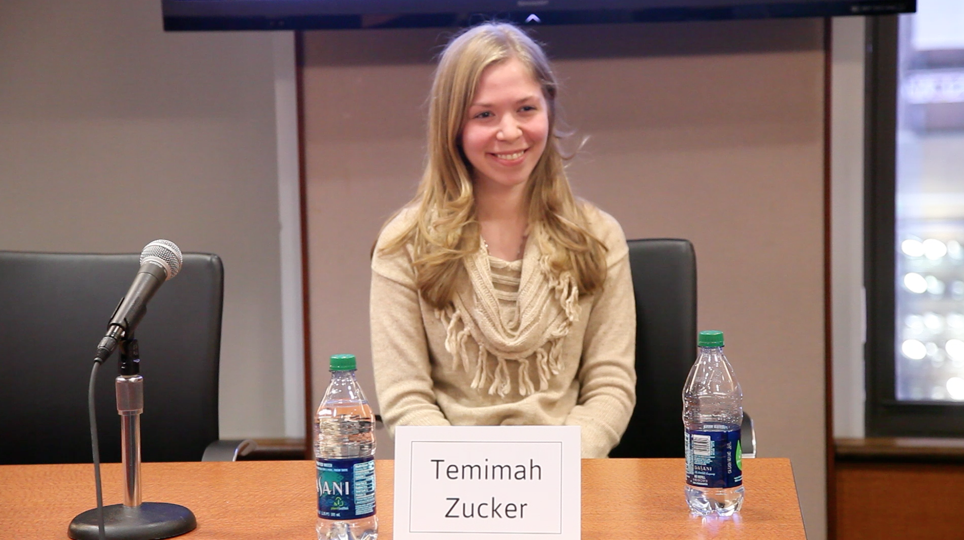 Click photo to download. Caption: Temimah Zucker, a 24-year-old activist working to tackle eating disorders in the Jewish community, participates in a panel discussion hosted by the   National Eating Disorders Association. Credit: Courtesy of Temimah Zucker.