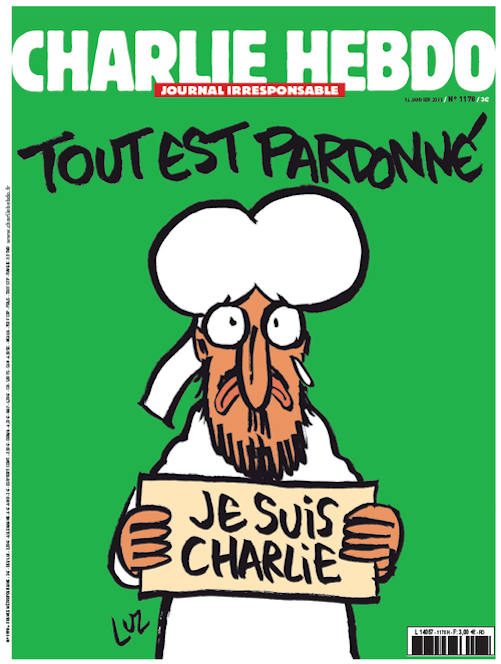 """Click photo to download. Caption: The Jan. 14 cover of Charlie Hebdo ,  featuring a cartoon of Mohammed holding a sign saying, """"Je Suis Charlie"""" (I am Charlie), with a headline above the cartoon reading, """"Tout Est Pardonne"""" (All Is Forgiven). Credit: Twitter."""