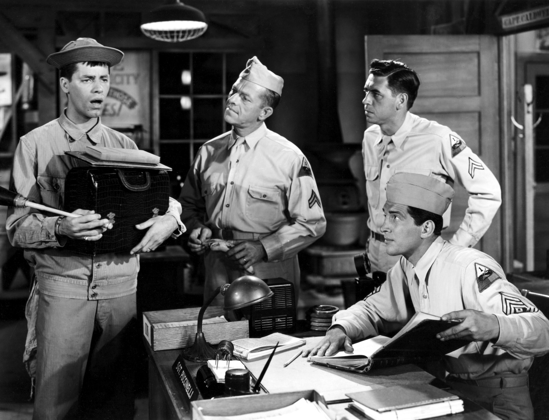 """Click photo to download. Caption: Jerry Lewis (farleft) in """"At War with the Army."""" Credit: www.doctormacro.com  ."""