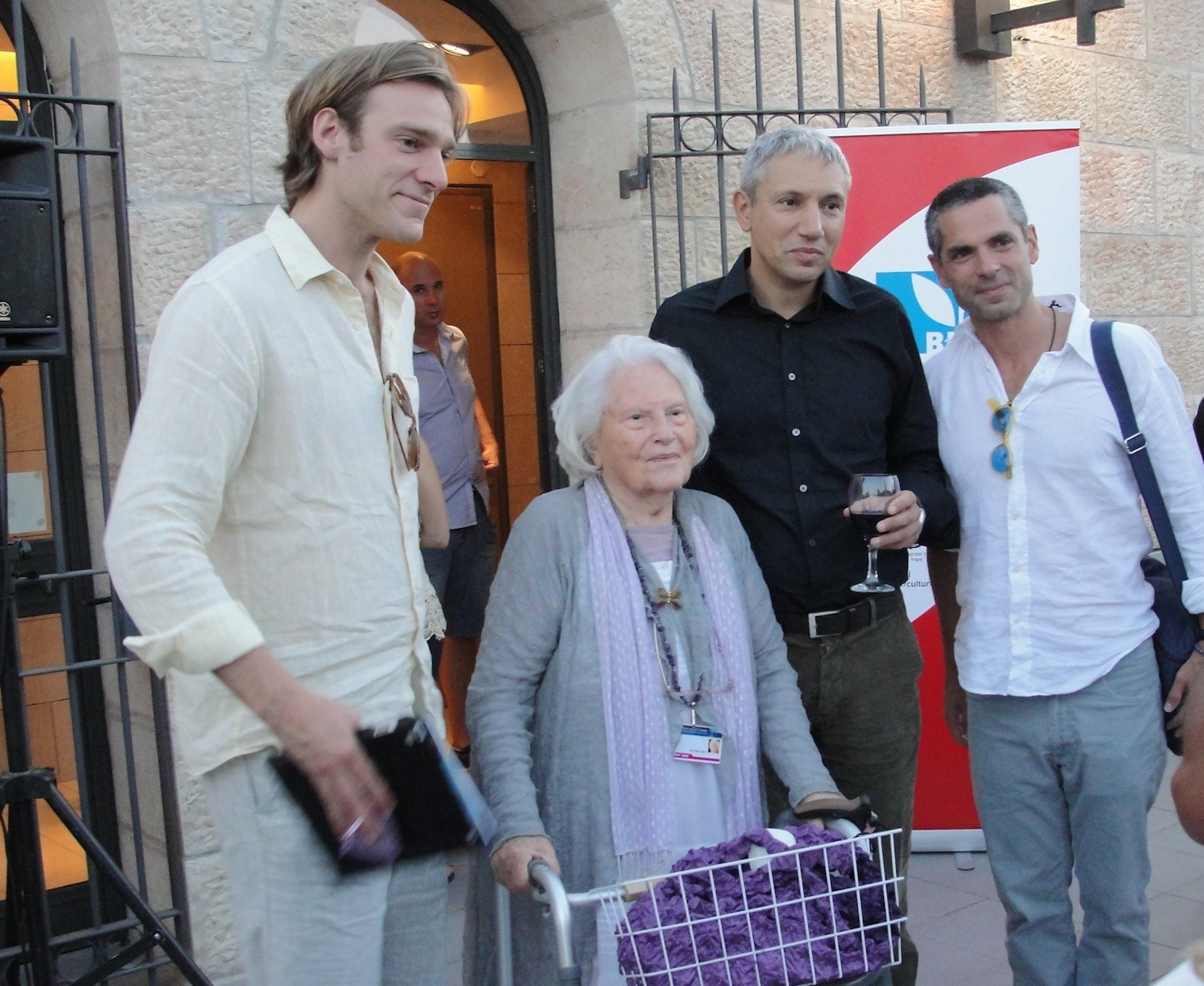 Click photo to download. Caption: The Jerusalem International Film Festival's founder, the late Lia Van Leer (second from left), is pictured at the 2012 festival. Van Leer died earlier this year, and the recent 2015 festival featured a tribute to her that attracted hundreds who remembered her persistence in trying to make the Jerusalem Cinematheque open to all in Israel's capital. Credit: Judy Lash Balint.