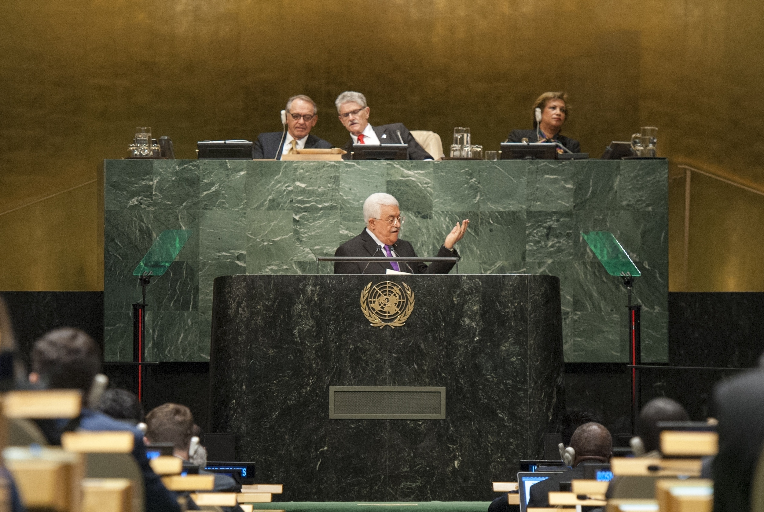 Palestinian Authority President Mahmoud Abbas addresses the United Nations General Assembly on Wednesday. Credit: UN Photo/Cia Pak.