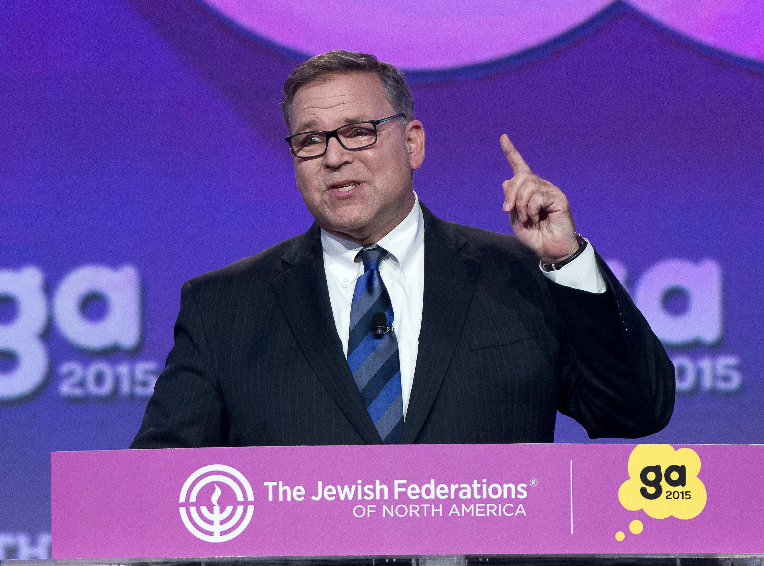 Jerry Silverman, president and CEO of The Jewish Federations of North America (JFNA), speaks at the JFNA General Assembly on Monday in Washington, DC. Credit: Ron Sachs.