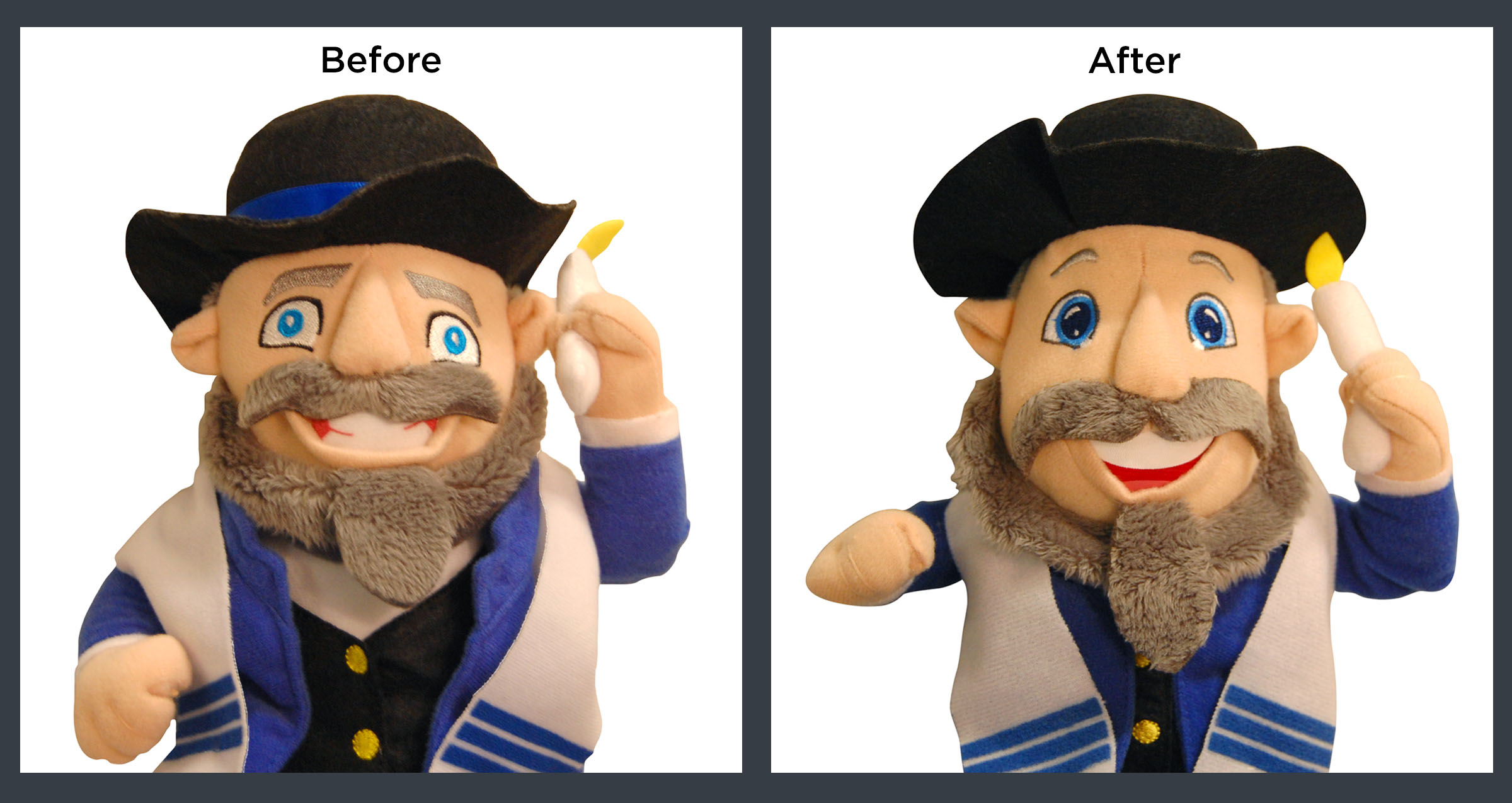 Click photo to download. Caption: The old (left) and new (right) faces of the Mensch on a Bench. Credit: Courtesy Mensch on a Bench.