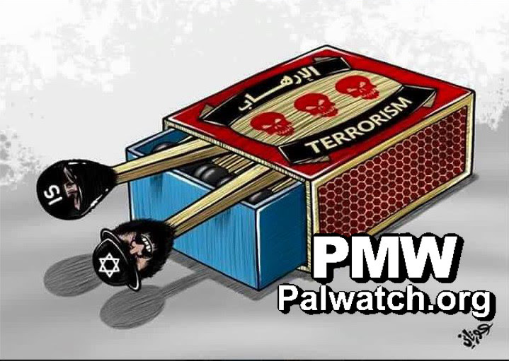 Click photo to download. Caption: A cartoon on the Facebook page of the Palestinian Fatah faction that blames Israel for the Paris attacks. Credit: Palestinian Media Watch.