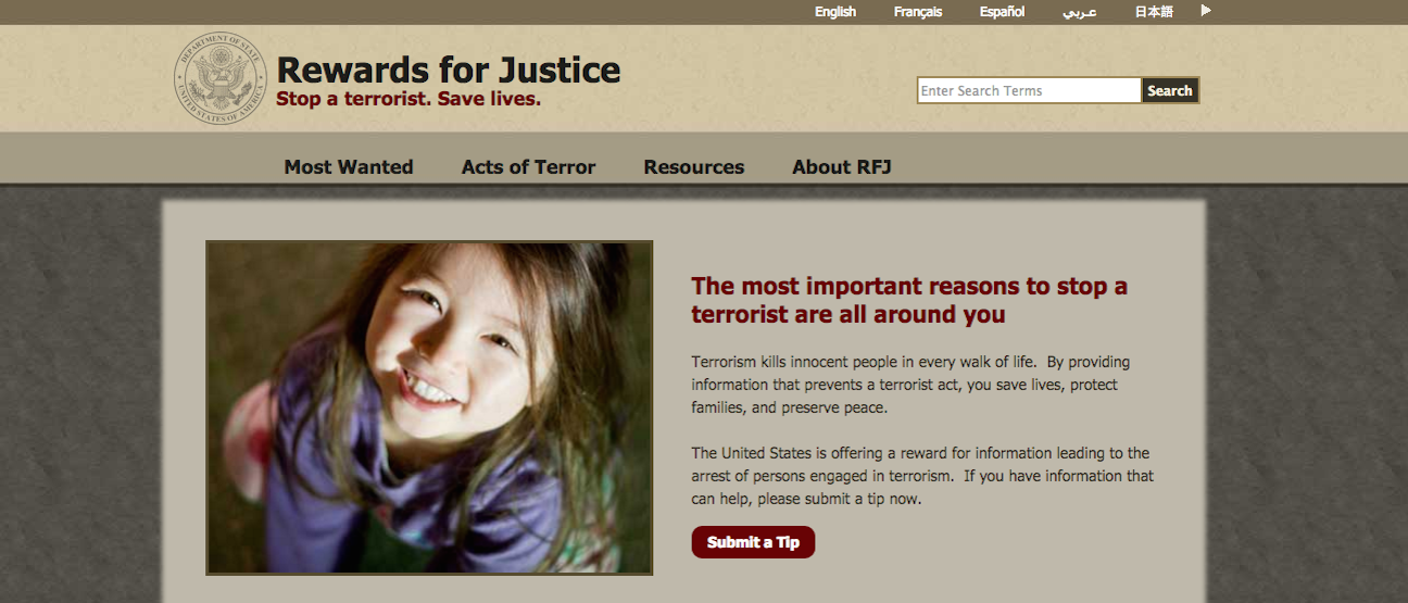 """Click photo to download. Caption: The website of the State Department's """"Rewards for Justice"""" program. Credit: RewardsForJustice.net screenshot."""