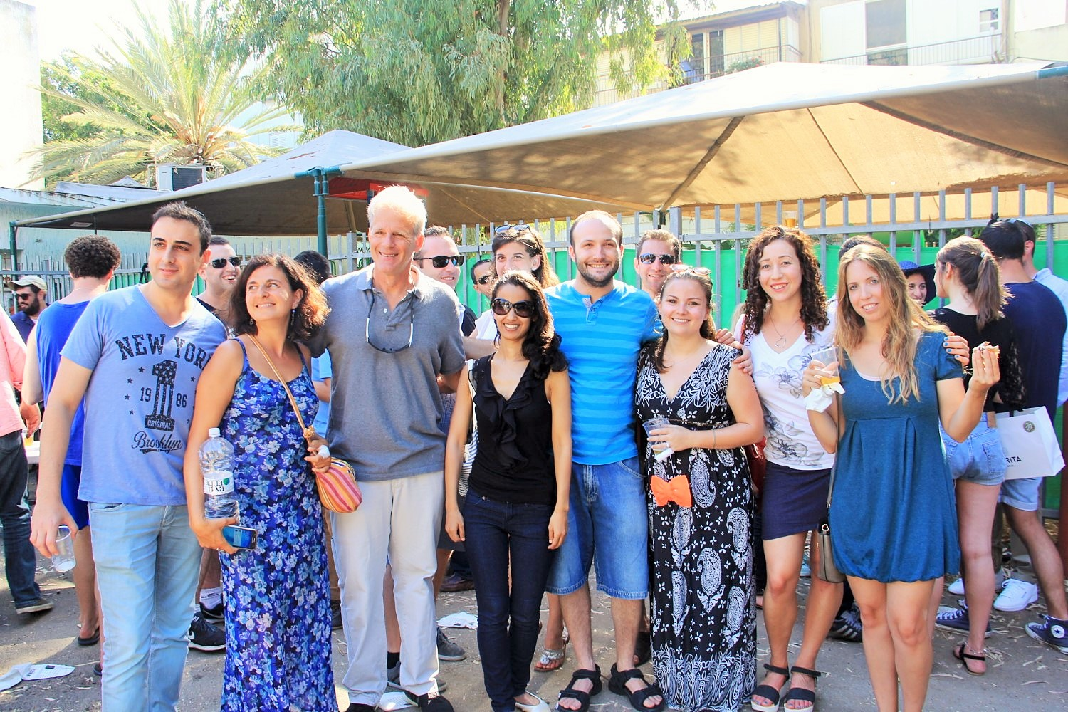 Click photo to download. Caption: Member of Knesset Michael Oren (in front, third from left) with other attendees of JNFuture Israel's barbecue for Israel's 68th Independence Day. Credit: Courtesy Jewish National Fund.