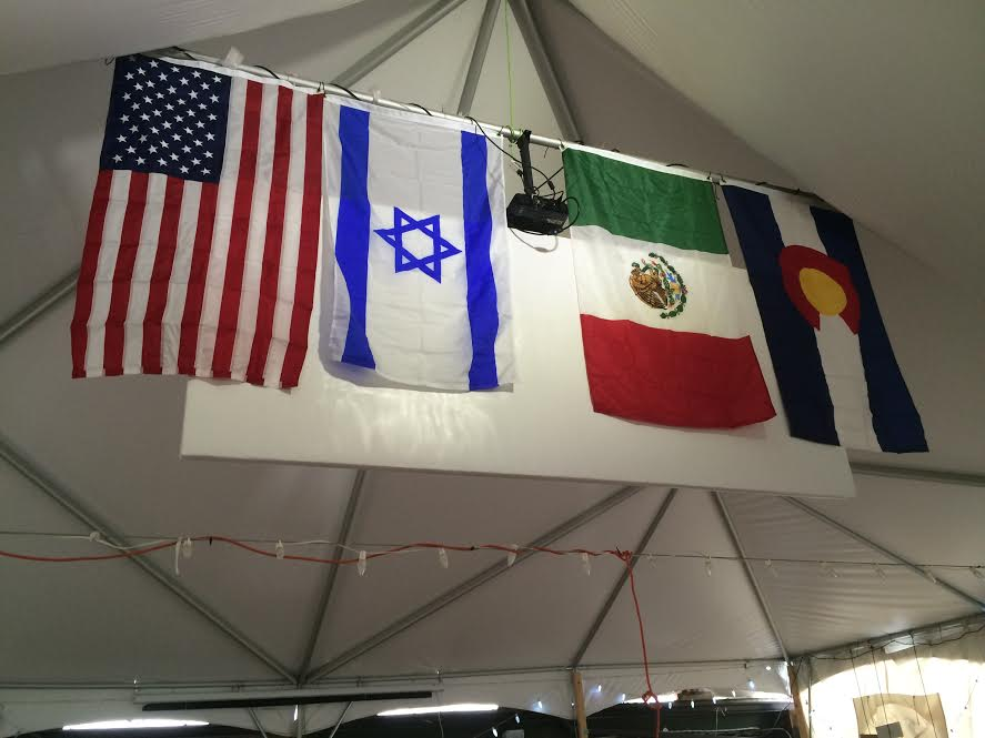 Mexico's flag alongside the flags of the U.S., Israel and the State of Colorado. Credit: Mexico City's Congregation Bet El.