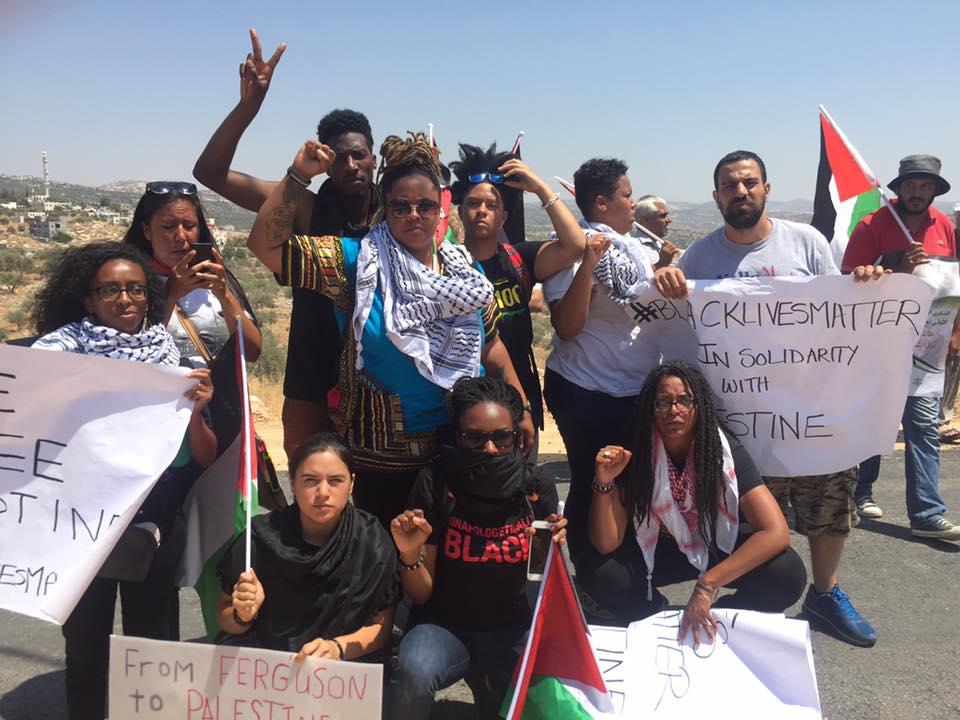 A Black Lives Matter delegation in the Palestinian Bilin village in the West Bank. Credit: Facebook post @BlackLivesMatter