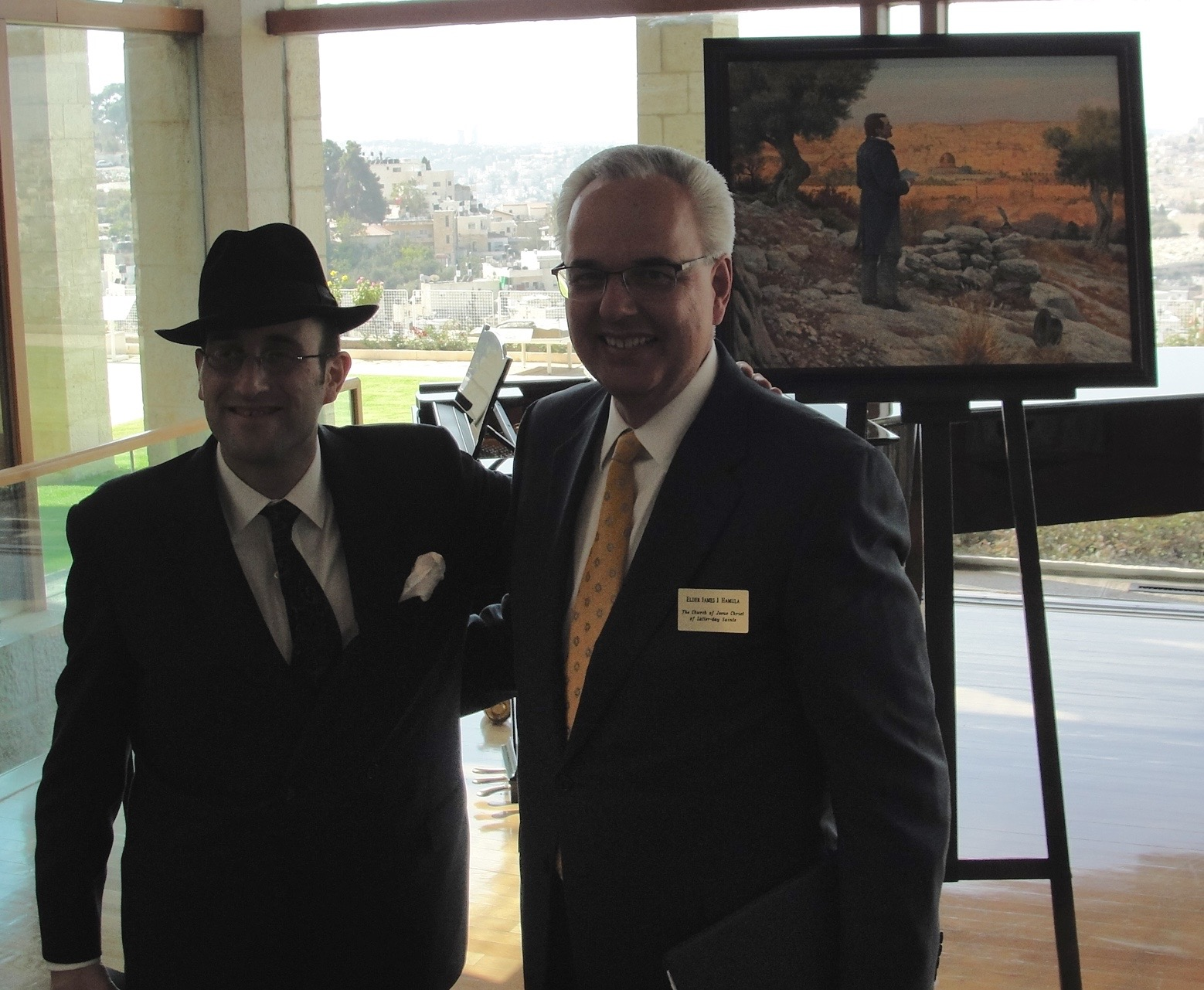 Rabbi Meir Soloveichik (left) with Elder James J. Hamula at the BYU Jerusalem Center for Near Eastern Studies.Credit: Judy Lash Balint.