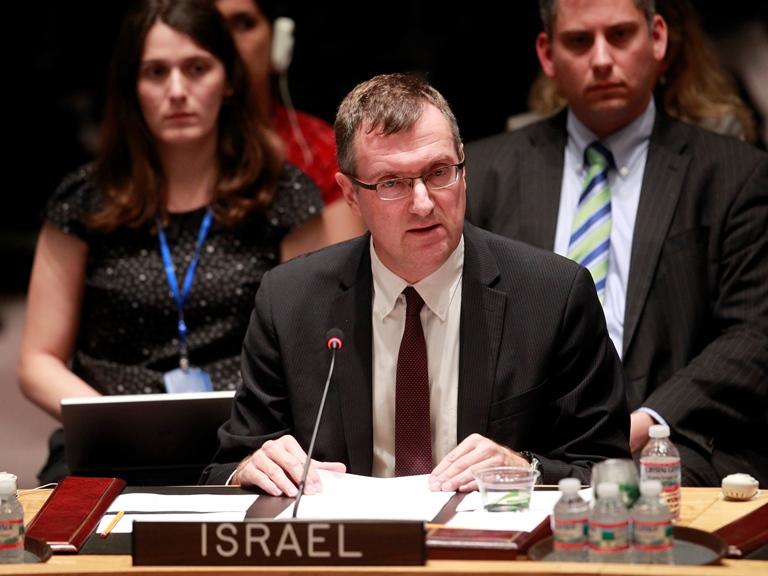 Amb. David Poet, Israel's Deputy Permanent Representative to the U.N.,addresses the U.N. Security Council. Credit: U.N. photo/Paulo Filgueiras.