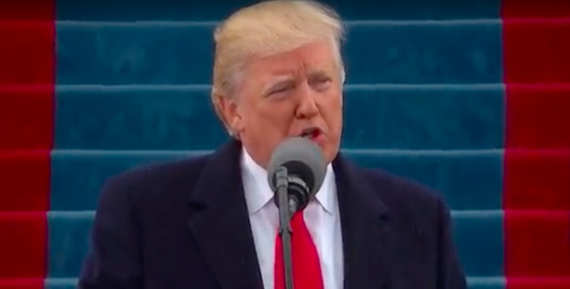 President Donald Trump gives his inaugural speech Friday. Credit: YouTube.