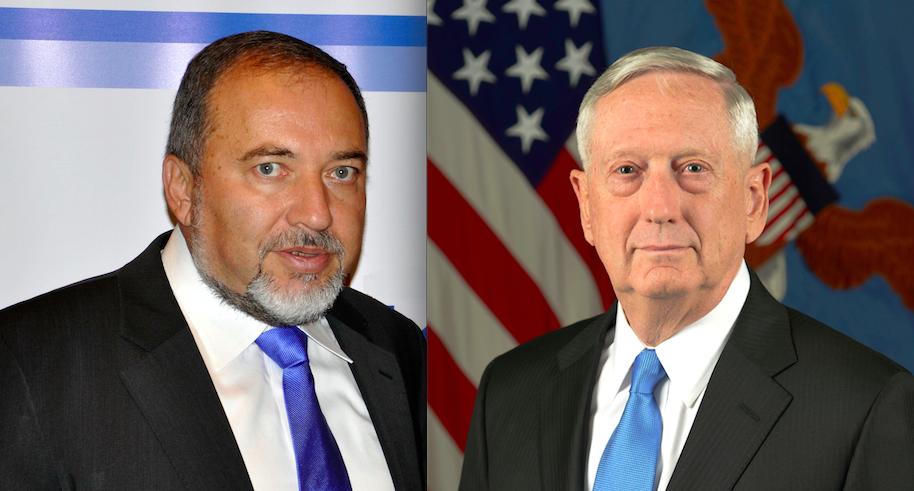 Israeli and American defense chiefs Avigdor Lieberman (left) and James Mattis. Credit: Michael Thaidigsmann and Monica King via Wikimedia Commons.