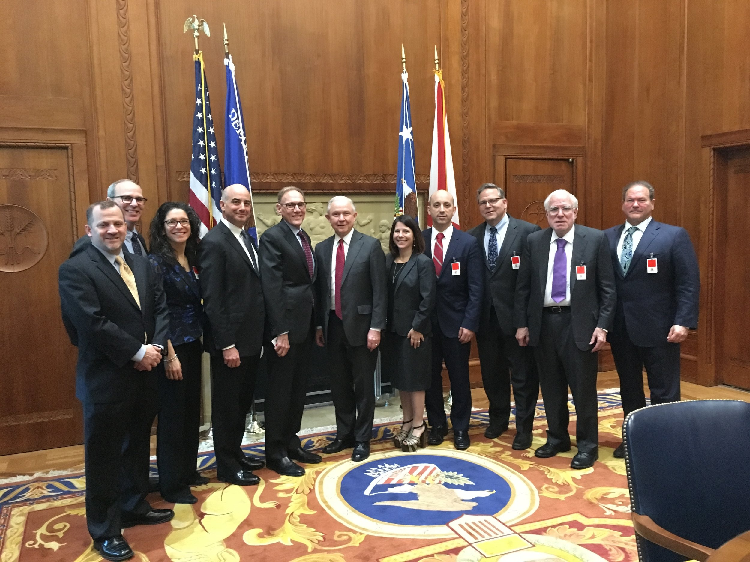 A delegation of Jewish leaders with U.S. Attorney General Jeff Sessions March 30, 2017, at the Department of Justice. Credit: JCC Association of North America.