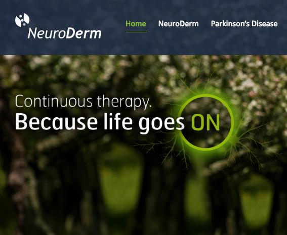 The NeuroDerm website. Credit: NeuroDerm.