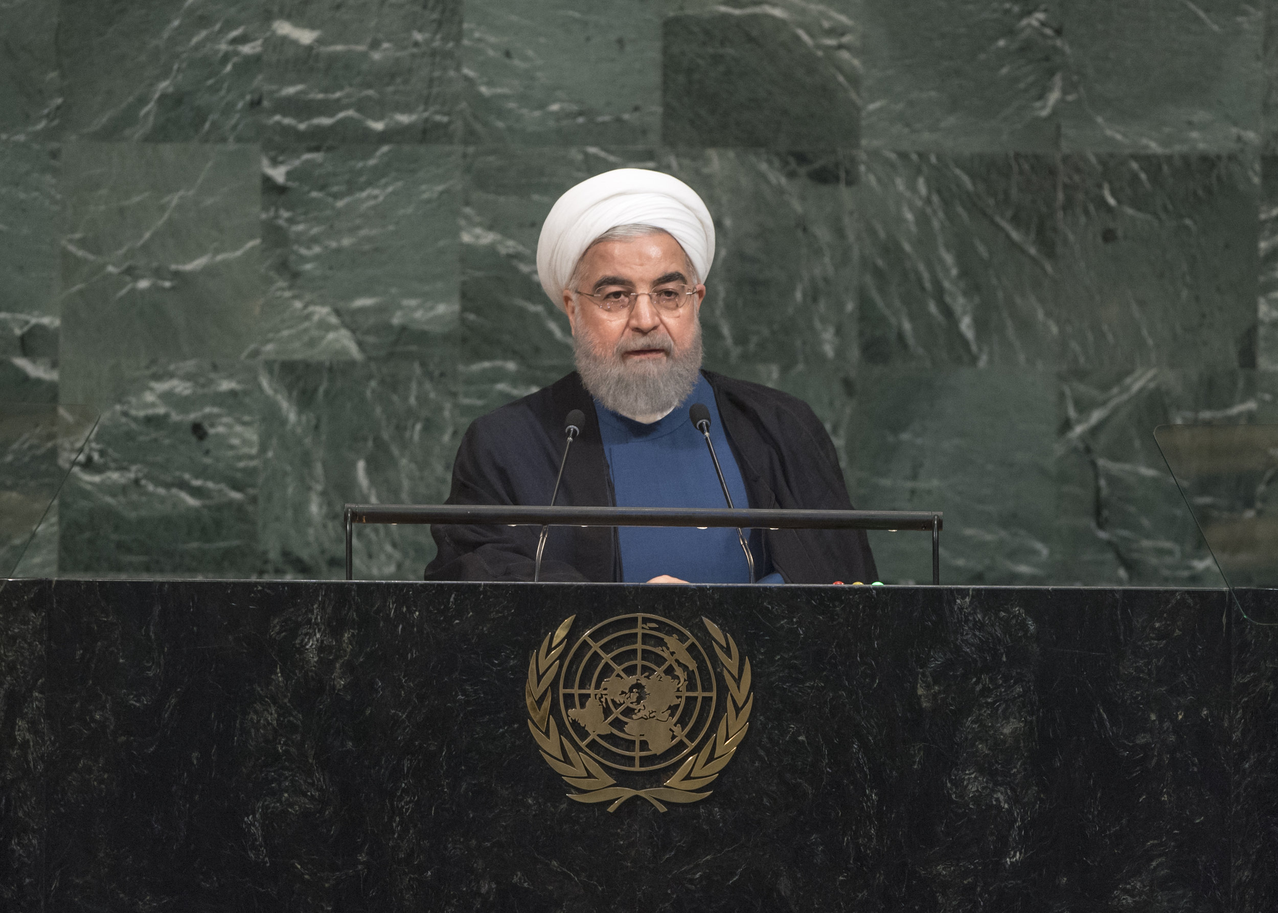 Iranian President Hassan Rouhani addresses the United Nations General Assembly on Sept. 20, 2017. Credit:U.N. Photo/Cia Pak.