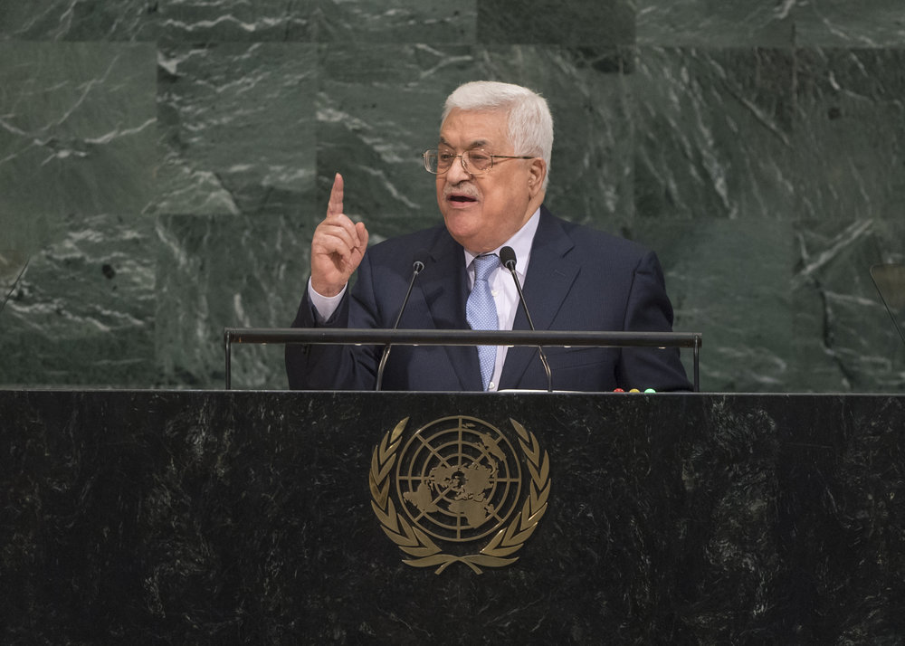 Palestinian Authority President Mahmoud Abbas addresses the general debate of the United Nations General Assembly on Sept. 20, 2017. Credit: U.N. Photo/Cia Pak.