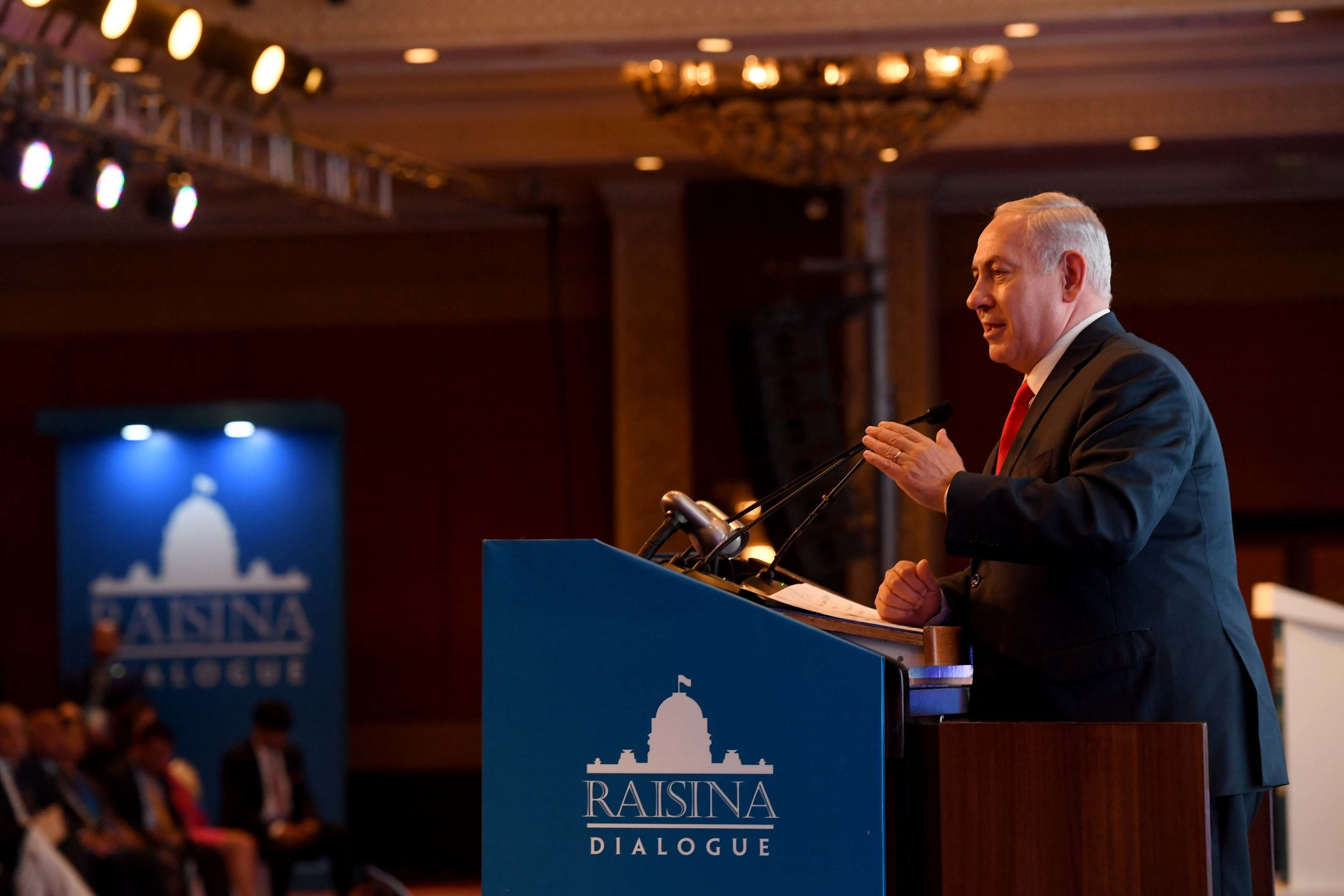 Israeli Prime Minister Benjamin Netanyahu speaks at the Raisina Dialogue in India on Tuesday. Credit: Avi Ohayon/GPO.