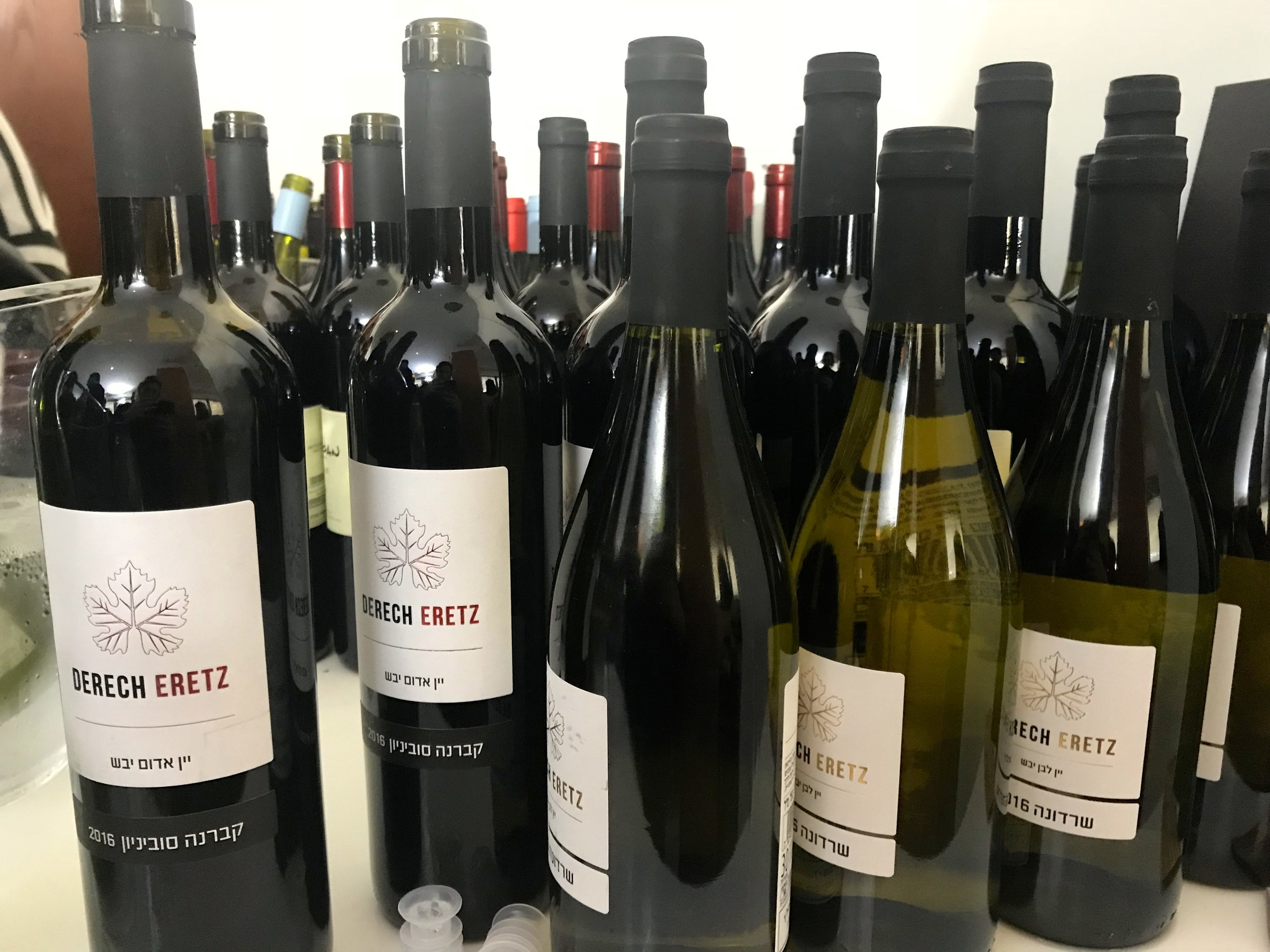 Bottles from the Derech Eretz winery at the Sommelier 2018 exhibition in Tel Aviv. Credit:Eliana Rudee.