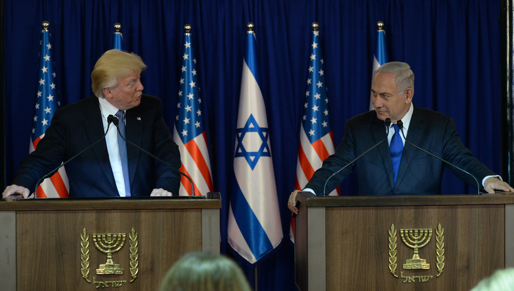 President Donald Trump and Prime Minister Benjamin Netanyahu make a joint appearance in Jerusalem on May 22, 2017. Credit:Haim Zach/GPO.