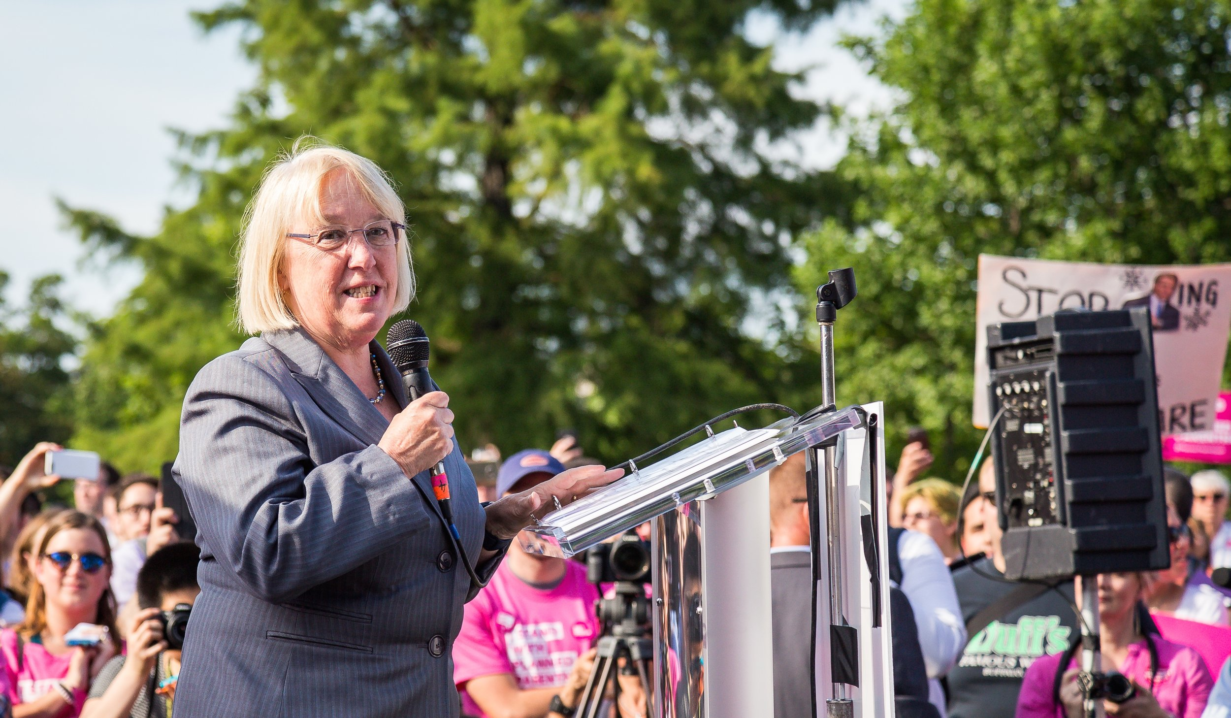 """U.S. Sen. Patty Murray (D-Wash.) speaks at a rally outside the U.S. Capitol on June 28, 2017. A senior policy adviser for Murray allegedly said,""""We don't care about anti-Semitism in this office,"""" JNS reports. Credit:Mobilus In Mobili via Wikimedia Commons."""