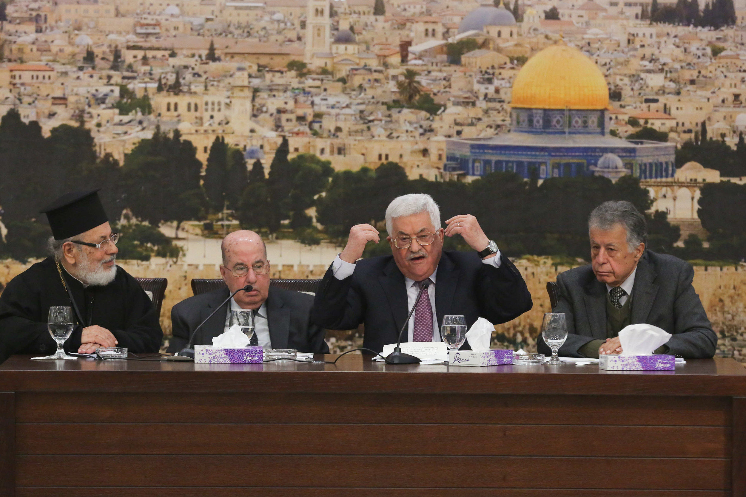 Palestinian Authority President Mahmoud Abbas (second from right) speaks during a meeting of the Palestinian Central Council in Ramallah on January 14, 2018. Credit: Flash90.