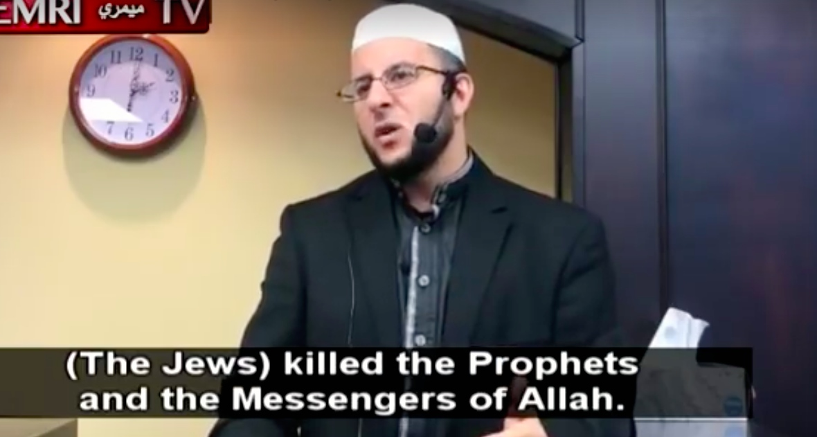 Sheikh Raed Saleh Al-Rousan delivers an anti-Semitic sermon in Houston on Dec. 8, 2017. Credit:Middle East Media Research Institute.