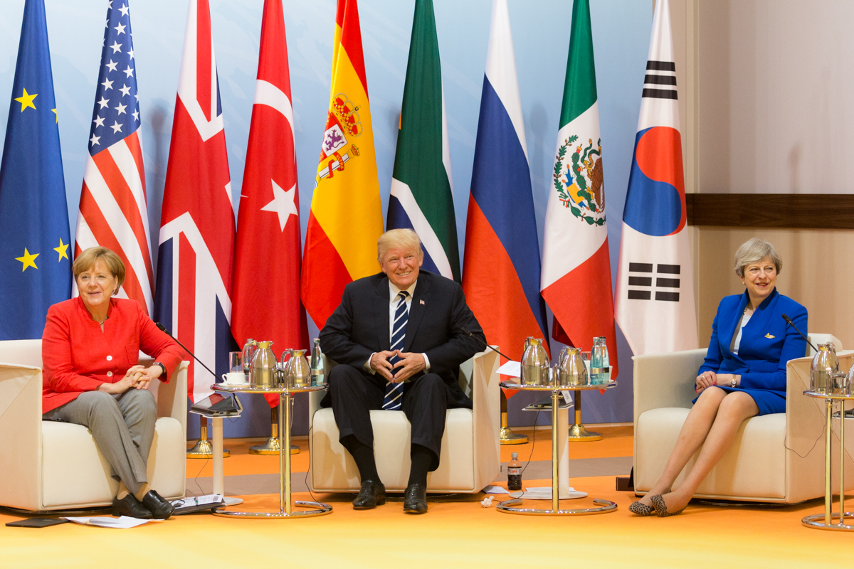 From left to right, German Chancellor Angela Merkel, U.S. President Donald Trump and U.K. Prime Minister Theresa May at the G20 Summit in Hamburg, Germany, on July 7, 2017. Credit: White House/Shealah Craighead.