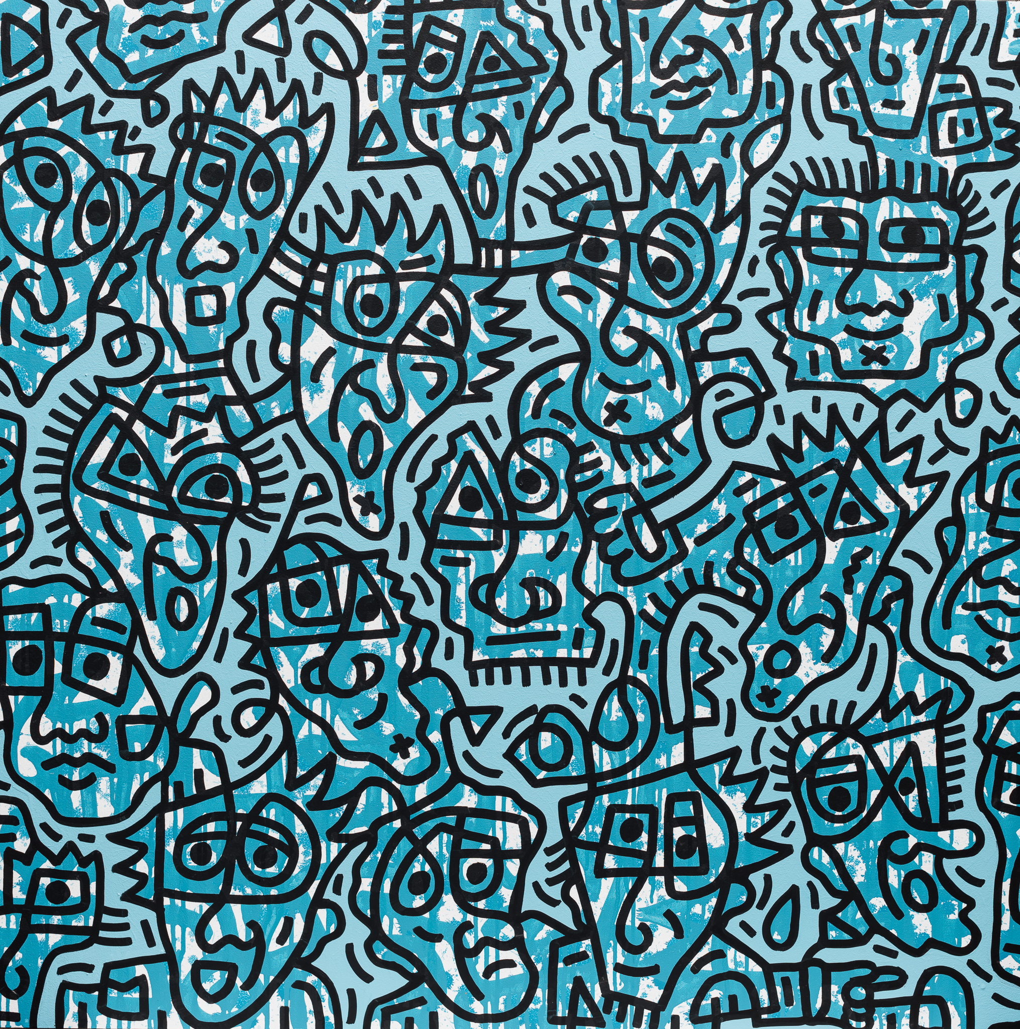 Blue facial forms #1, enamel on canvas, 100x100cm, SOLD