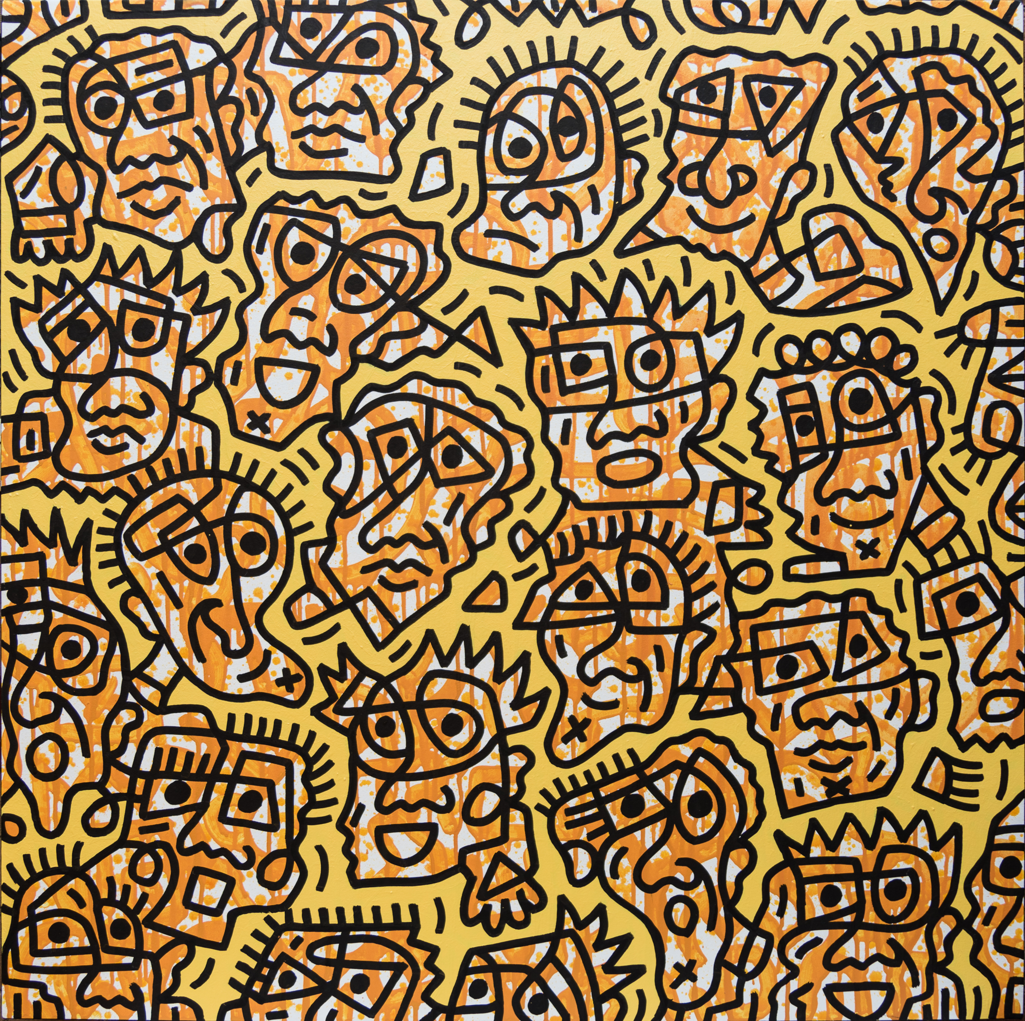 Yellow Facial Forms #1, enamel on canvas, 100x100cm, SOLD