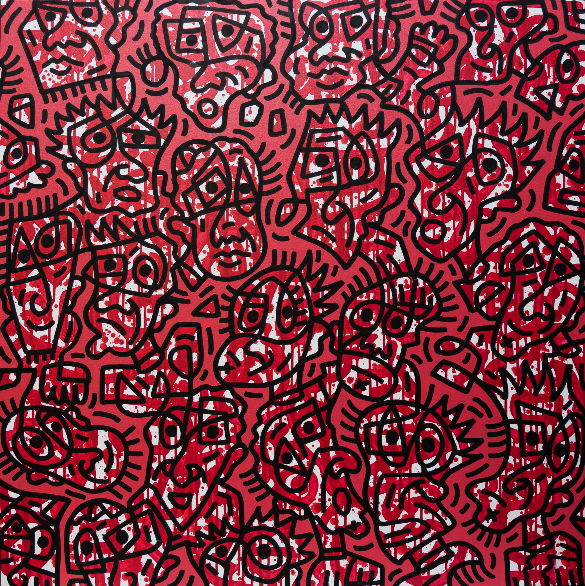 Red Facial Forms #2, enamel on canvas, 100x100cm, SOLD