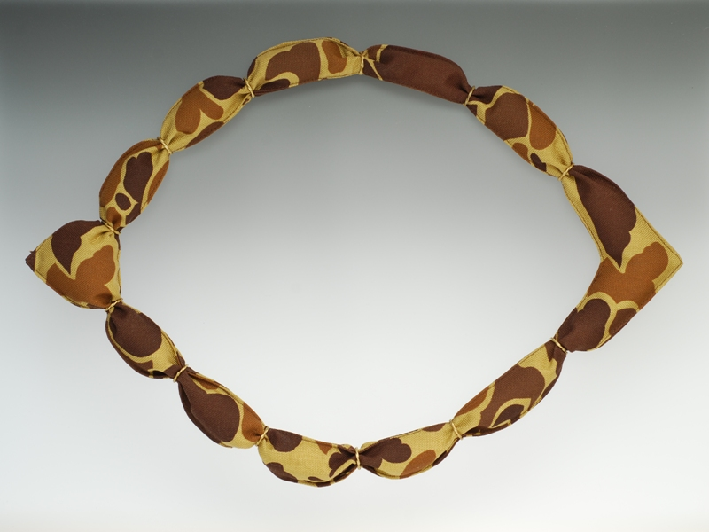 'Desert Gold' Necklace 2011, 'Desert Camouflage' army surplus fabric, brass