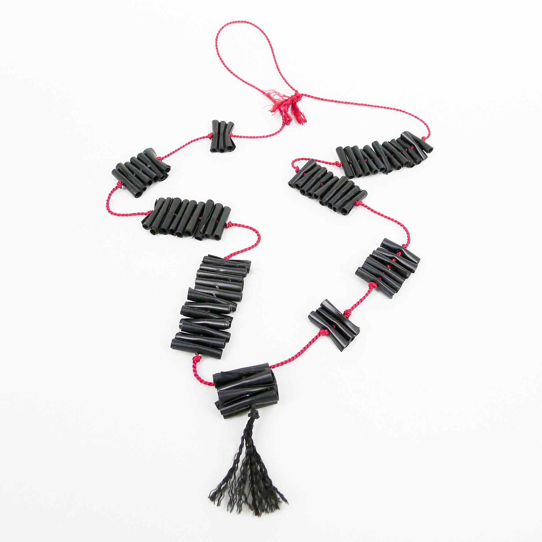 Chenier Necklace, PVC, silk cord