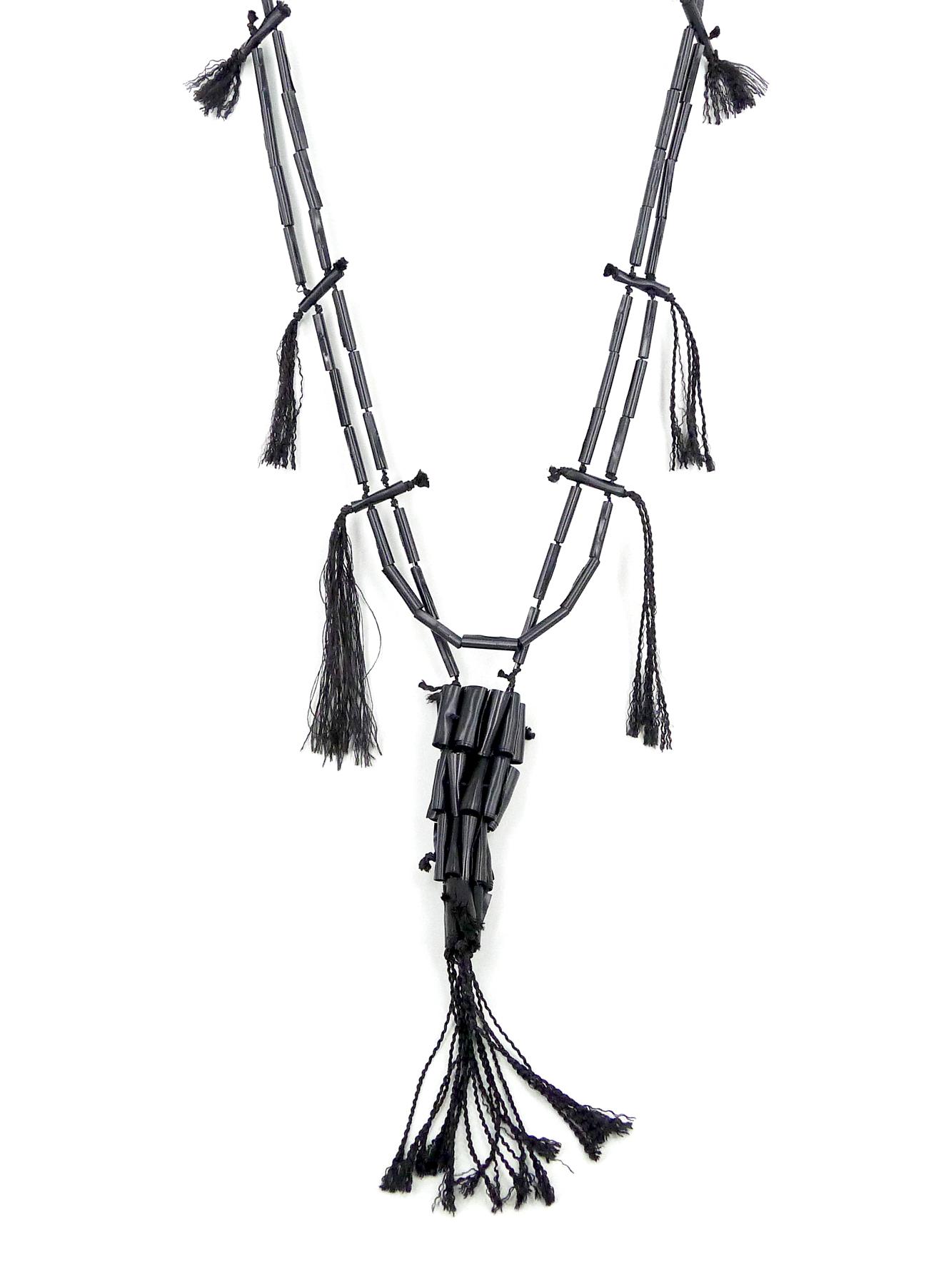 CC Jet Necklace, PVC, silk cord, polyester thread